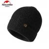 Nature Hike Wool beanie knitted hat (Black)