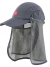 Nature Hike   Sun Shading Quick Dry Folding Cap with protective face mask (Grey)