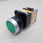 LA38 22mm Flat Head Pushbutton Switch 1NO/1NC Reset (Green) LA38-11BN