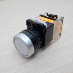 LA38 22mm Flat Head Pushbutton Switch 1NO/1NC Reset (White) LA38-11BN