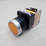 LA38 22mm Flat Head Pushbutton Switch 1NO/1NC Reset (Yellow) LA38-11BN