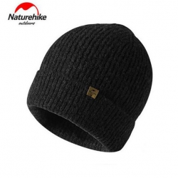 Nature Hike Wool beanie knitted hat (Black)