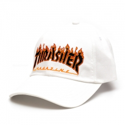 Thrasher Flame Cap 6-Panel Embroidered - White